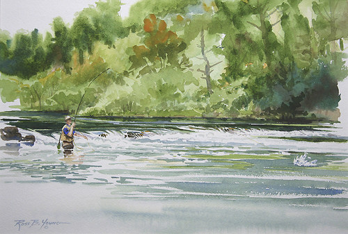 [ Fishing Sporting Art Watercolor Painting ]