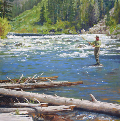 [ Fly Fishing Sporting Art Oil Painting ]