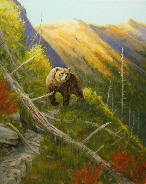 His Country - Grizzly Bear Oil Painting