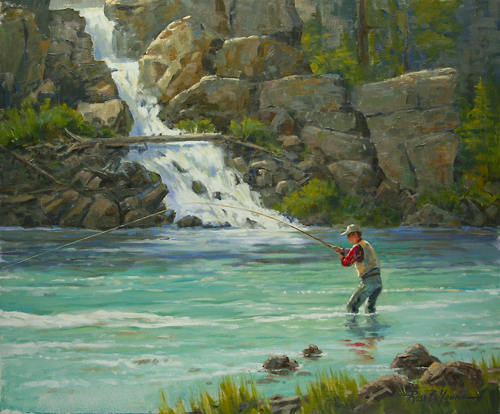 Fly Fishing Fly Fisherman Painting
