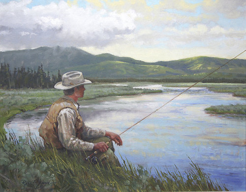 Fishing sporting art oil painting